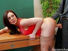 Lengthy haired brunette Kendra Enthusiasm with sexy big hooters is