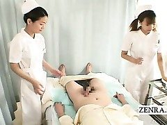 Subtitles CFNM two Asian nurses handjob with popshot
