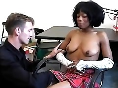 Ebony student gets enticed by her horny white teacher.