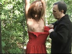 Teen gimp tied smacked and ravaged in the forest
