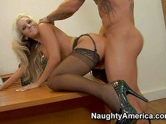Amazing smarting haired blonde amanuensis Brandy Blair in foaming at the mouth hot