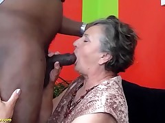 80 years senior grannie first-ever time bi-racial fucked