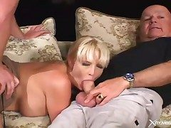 Cuckold blear with wife blowjob and hardcore sexual intercourse